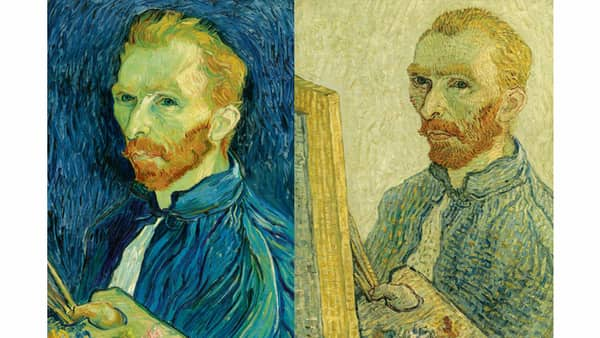 Vincent van Gogh's self-portrait (1889) (Left); A forged version of van Gogh's self-portrait by an anonymous painter in the early 20th century (Right)