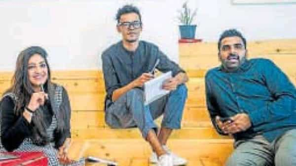 Surabhi Raghavan (left), Pratik Chhadwa (middle) and Tarun Nainani quit their jobs to start a creative marketing agency (Hindustan Times)