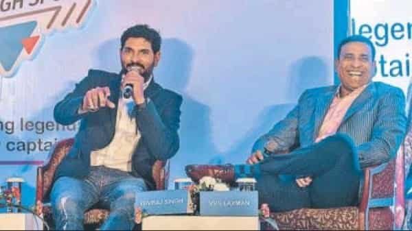 Yuvraj Singh and V.V.S Laxman speaking at the HT Powerplay event in Parel. (Pratik Chorge/Hindustan Times)