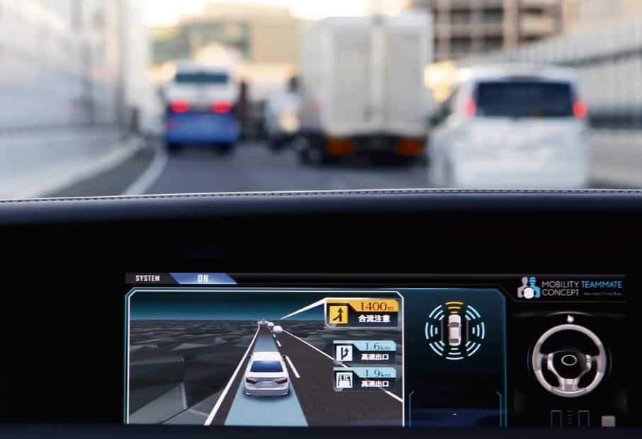 A monitor in a Toyota 'Mobility Teammate Concept' prototype car in Tokyo. Photo: Reuters