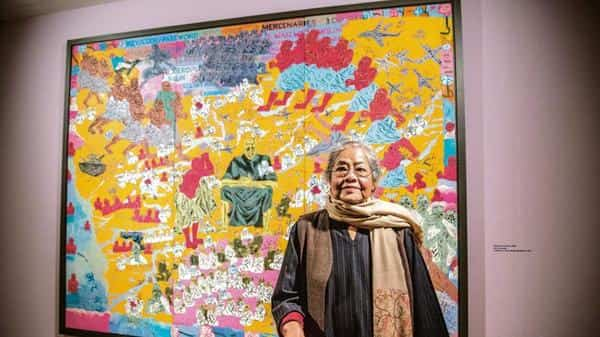 Arpita Singh with 'Whatever Is Here' in the background. Photo: Pradeep Gaur/Mint