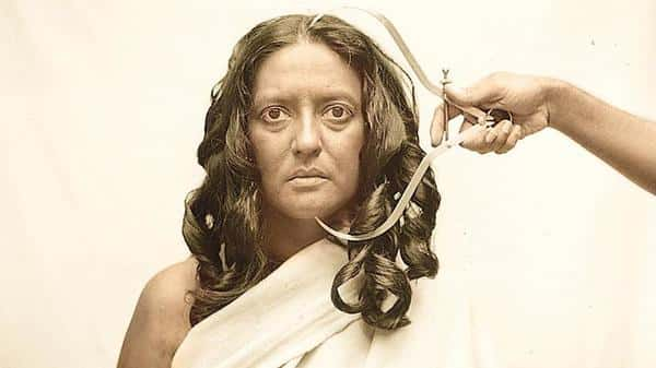 Pushpamala N. as a Toda woman, from the 'Native Women Of South India: Manners & Customs, 2000-2004'. Pushpamala N. in collaboration with Clare Arni (2004)