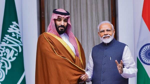 Saudi Crown Prince Mohammed Bin Salman (left) with Prime Minister Narendra Modi in New Delhi on Wednesday (Ramesh Pathania/Mint)