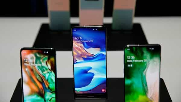 The new Samsung S10 phones on display in a demonstration room in San Francisco.  (AP)