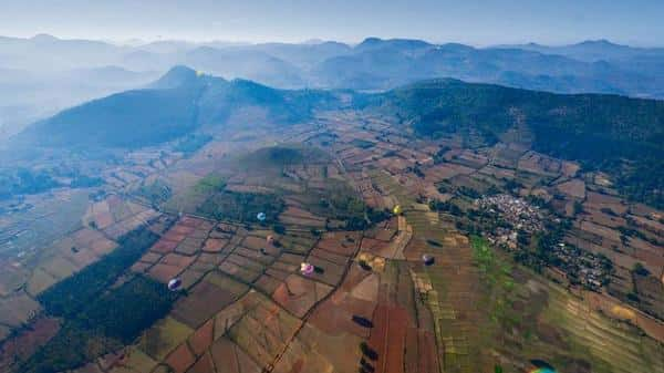 Viewed from a hot-air balloon 1,000ft above ground, Araku Valley is a canvas of green hills and paddy fields. This is the unique perspective that the Araku Balloon Festival hopes to offer its guests, creating a new kind of tourism experience in the valley. Photo: Aniruddha Chowdhury/Mint