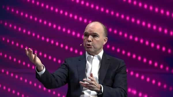 Nick Read, Chief Executive Officer of Vodafone, gestures as he speaks during the Mobile World Congress in Barcelona. (Reuters)