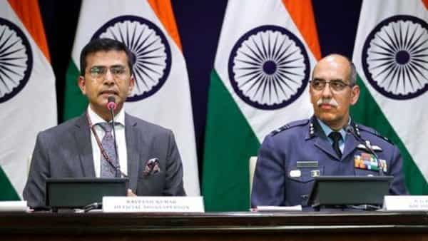 MEA spokesperson Raveesh Kumar, left, with Indian Air Force Air Vice Marshal R.G.K. Kapoor. (AP)