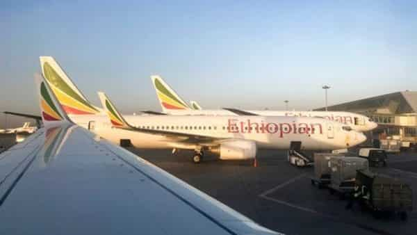 An Ethiopian Airlines Boeing 737-800 parked at Bole International Airport in Addis Ababa (AP)
