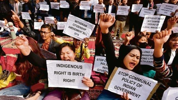 Manipuri activists demand the withdrawal of the Citizenship (Amendment) Bill in Delhi.