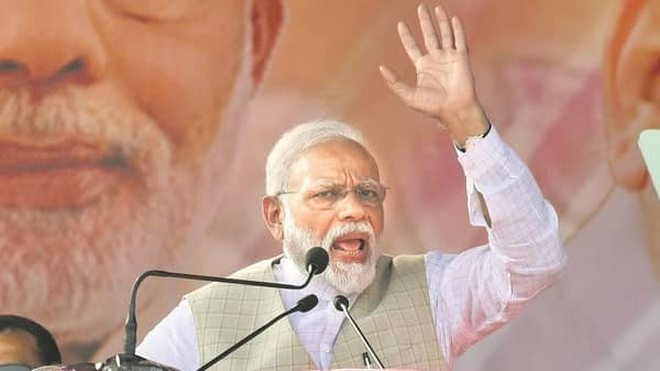 PM Narendra Modi. With the first phase of polling less than three weeks away, internal security has become a key part of narrative. (HT)