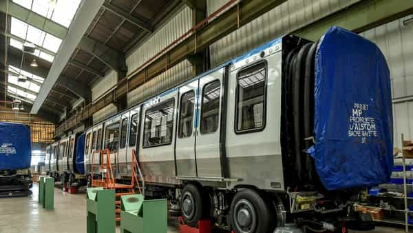 Carriages built by Alstom at the production site. (AFP)