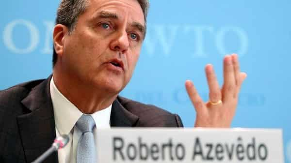 The renewed momentum of 4.6% global trade growth in 2017 has evaporated due to US-China trade war, says WTO director general Roberto Azevedo. (Denis Balibouse/Reuters)