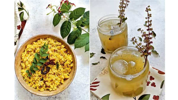 'Mavinakayi Chitranna' (left); and Fire-Roasted Aam Panna. (Nandita Iyer)