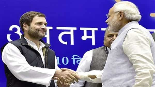Congress president Rahul Gandhi and Prime Minister Narendra Modi. In trying to hard-sell their own versions of the cash transfer schemes, BJP and Congress have unwittingly revealed their characteristic frailities. (PTI)