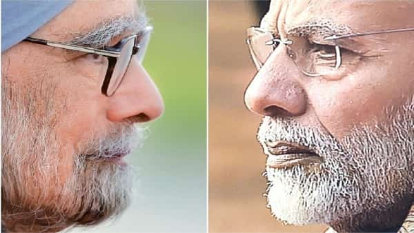 Former prime minister Manmohan Singh of the Congress and his successor Narendra Modi of the BJP. On a slew of real-time economic indicators, the average Indian was much better off under UPA-II than NDA-II. (AFP & HT)
