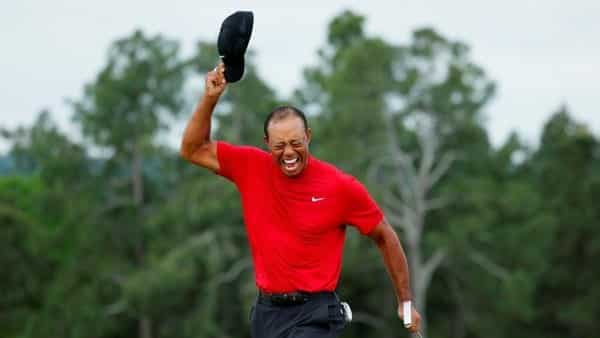 cbfebf89aa5b ... Tiger Woods celebrates on the 18th hole after winning the 2019 Masters.  (Reuters)