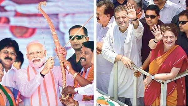 (Left) Prime Minister Narendra Modi being presented a bow and an arrow during a rally in Tamil Nadu's Ramanathapuram; Congress president Rahul Gandhi with party general secretary Priyanka Gandhi Vadra during a roadshow after filing his nomination papers for Lok Sabha elections in Wayanad.