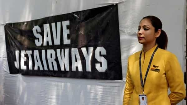 A flight steward of Jet Airways during a protest by the airline's employees in New Delhi on Thursday. (Reuters)