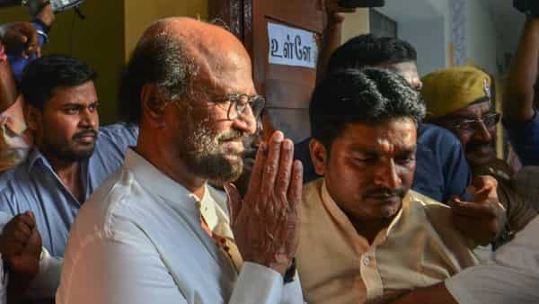 Actor-turned-politician Rajinikanth after casting vote for the second phase of the Lok Sabha elections, at a polling station in Chennai today. (PTI)