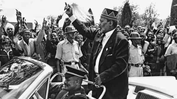 Jomo Kenyatta, the first president of independent Kenya, on the day Kenya gained independence in 1963. (Getty Images)