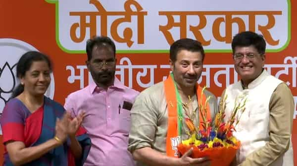 Actor Sunny Deol joins Bharatiya Janata Party in presence of Union Ministers Piyush Goyal and Nirmala Sitharaman on Tuesday. (ANI)