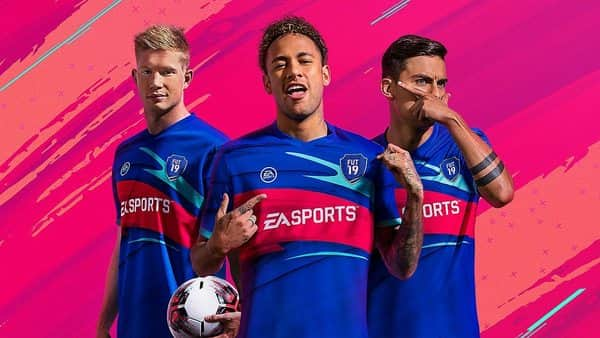 Footballers (from left) Kevin De Bruyne, Neymar and Paulo Dybala on the 'FIFA 19 Ultimate Team' game cover