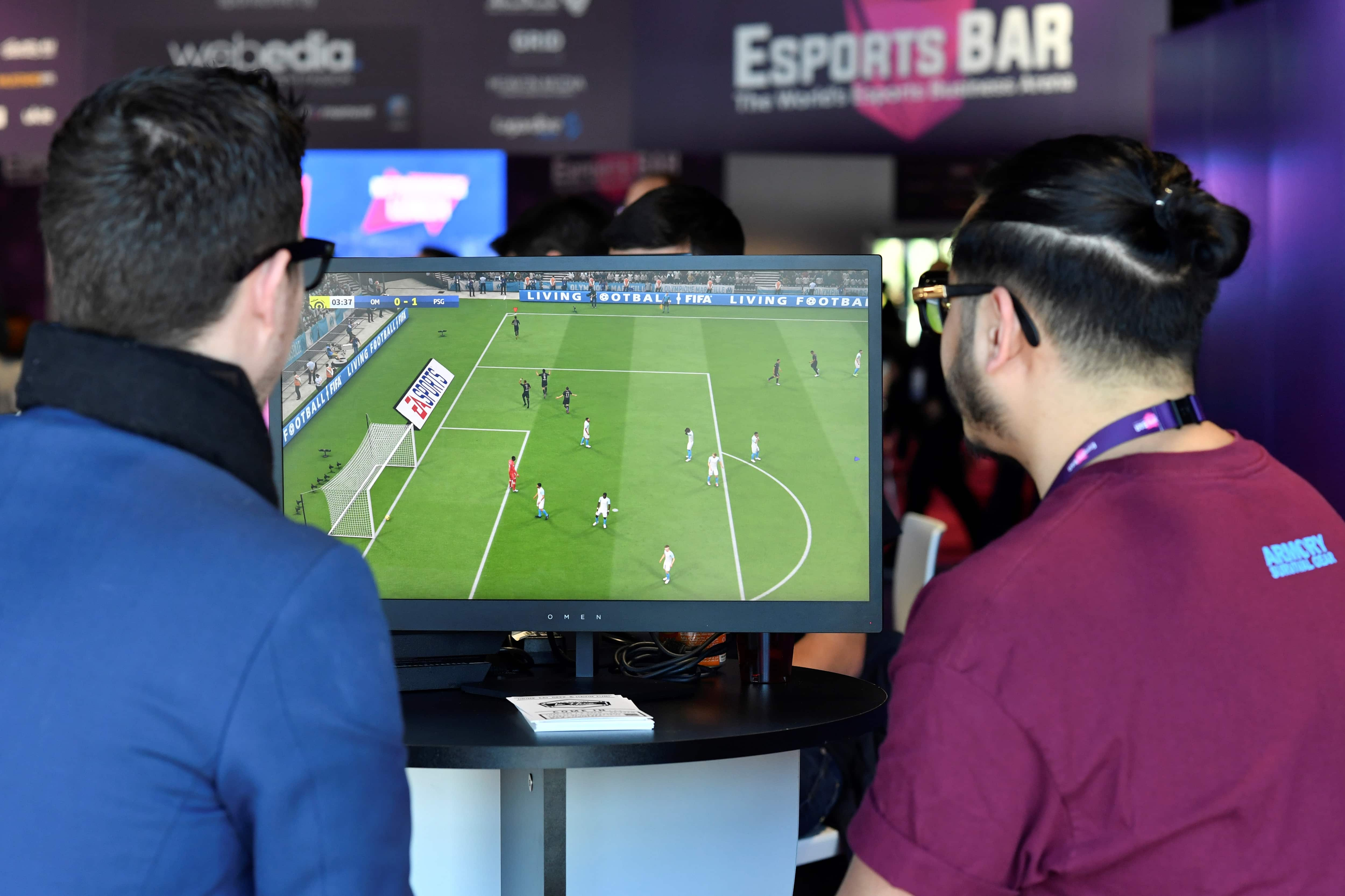 Gamers playing 'FIFA 19' in Cannes, France.