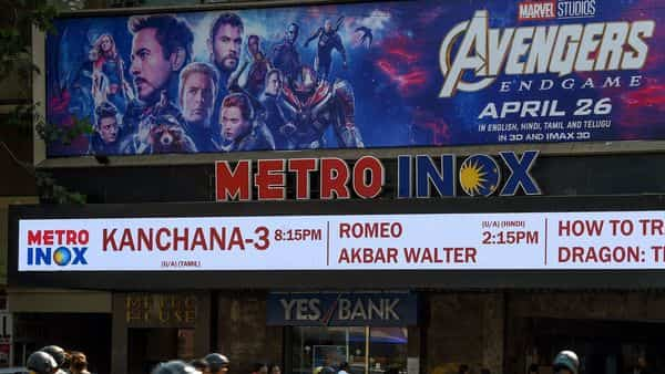A movie theatre displaying a poster of the latest Avengers movie.  (AFP )