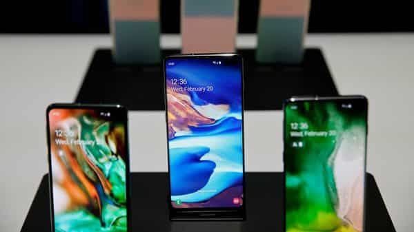 The new Samsung S10 phones on display in a demonstration room. (AP)