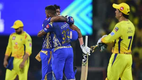 MI players Suryakumar Yadav and Hardik Pandya celebrating after them team qualifying for final as they win the First Qualifier of Indian Premier League 2019 (IPL T20) playoffs cricket match against Chennai Super Kings (CSK) at MA Chidambaram Stadium, (PTI )
