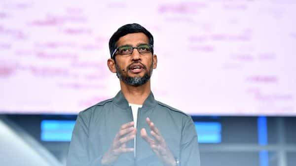 Google CEO Sundar Pichai speaks during the Google I/O keynote session at Shoreline Amphitheatre in Mountain View, California. (AFP)