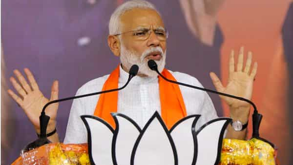 PM Narendra Modi addresses public meeting at the BJP office in Ahmedabad on 26 May 2019, after the victory in the recent Lok Sabha elections.  (PTI)