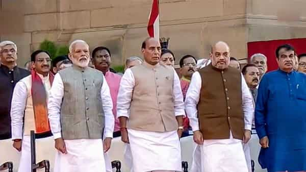 Prime Minister Narendra Modi with Rajnath Singh, Amit Shah, Nitin Gadkari and other NDA leaders during the swearing-in ceremony at the forecourt of Rashtrapati Bhawan in New Delhi today.