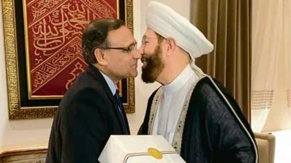 Diplomat T.S. Tirumurti (left) with Grand Mufti of Syria Ahmad Badreddin Hassoun. Tirumurti was part of an Indian delegation that visited Damascus last month to convey the country's position to the Syrian leadership.