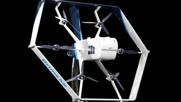 Amazon has unveiled a revolutionary new drone -- part helicopter and part science-fiction aircraft -- that the company expects to use for test deliveries of toothpaste and other household goods starting within months. (Amazon via AP)