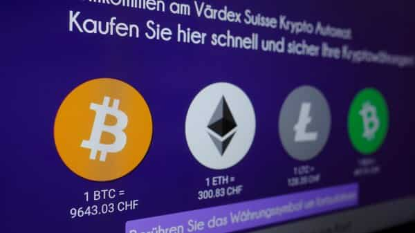 The exchange rates and logos of Bitcoin (BTH), Ether (ETH), Litecoin (LTC) and Bitcoin Cash (BCH) are seen on the display of a cryptocurrency ATM of blockchain payment service provider Vaerdex at the headquarters of Swiss Falcon Private Bank in Zurich, Switzerland.  (Reuters )