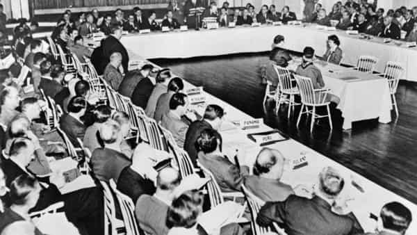 They were among 730 delegates from 44 countries at Bretton Woods.  (Photo: Alamy)