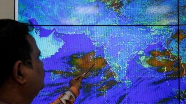 An India Meteorological Department scientist monitors Cyclone Vayu inside his office in Ahmedabad,  (Reuters)