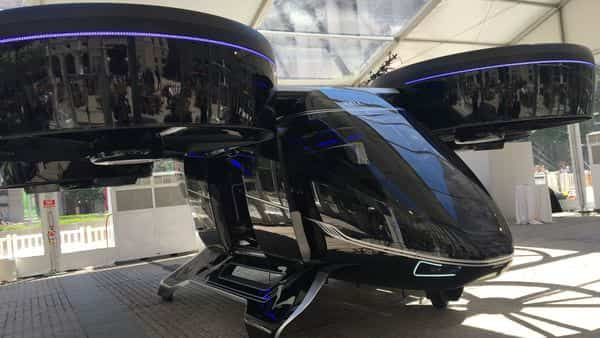 The Bell Nexus concept flying car is shown at the Uber Elevate summit in Washington, DC. Photo: AFP
