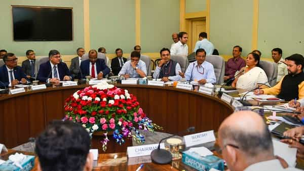 Union Finance Minister Nirmala Sitharaman along with Minister of State Anurag Thakur holds a pre-budget consultation meeting with the representatives of Financial Sector & Capital Markets, in New Delhi (Photo: PTI)