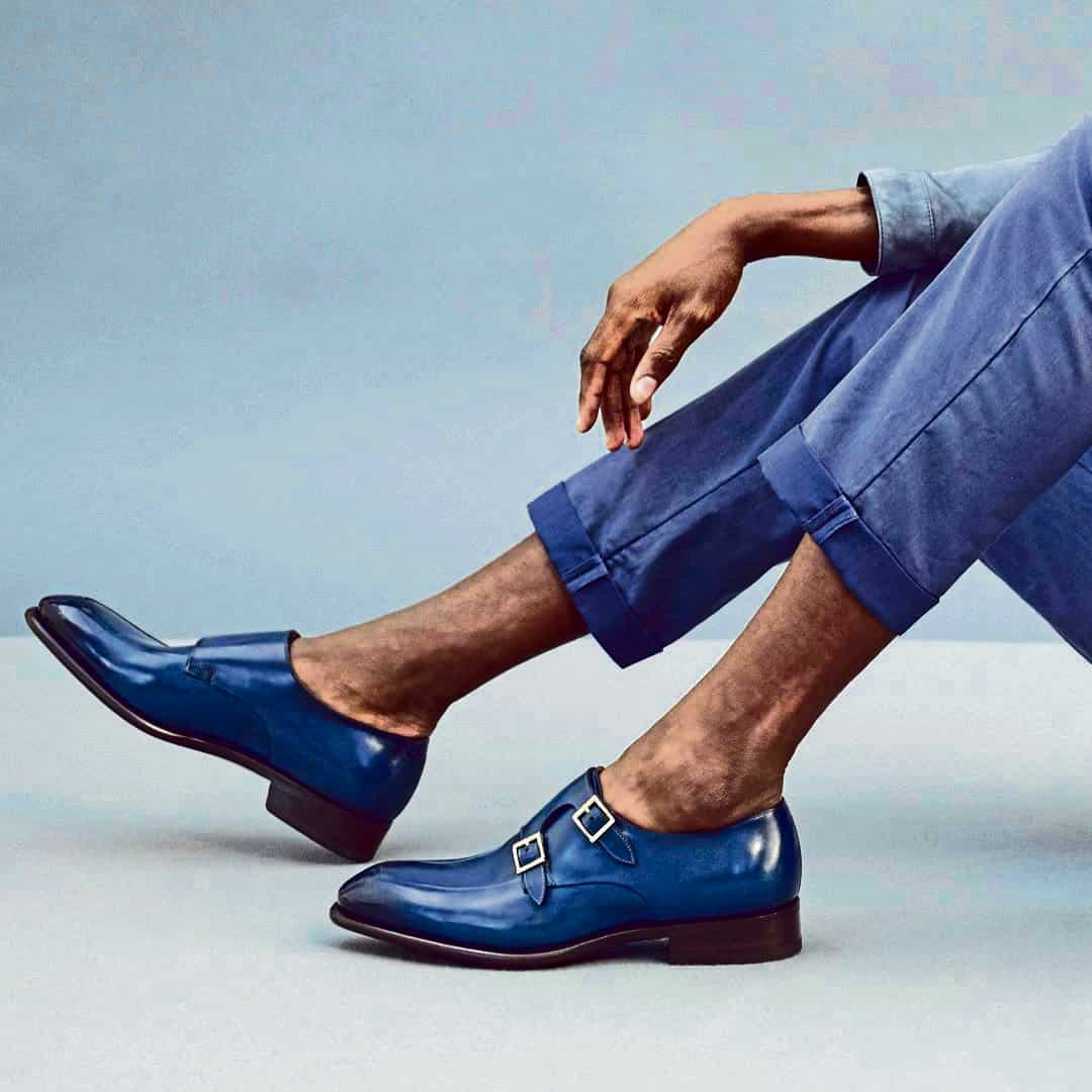 Sky-blue loafers from Santoni.
