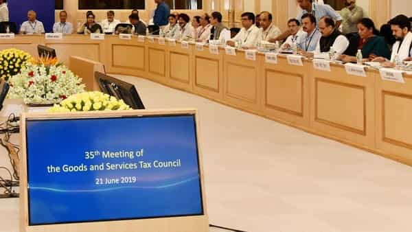 Union Minister for Finance and Corporate Affairs, Nirmala Sitharaman chairing the 35th GST Council meeting, in New Delhi. The Minister of State for Finance and Corporate Affairs, Anurag Singh Thakur is also seen (Photo;: ANI)