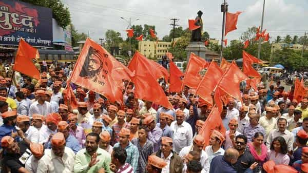 The Bombay high court ruling on Thursday triggered statewide celebrations by the Maratha community, which had organized a series of silent marches in support of quotas from 2016 to 2018. (Photo: Abhijit Bhatlekar/Mint)