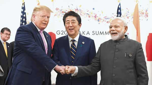 (From left) US President Donald Trump, Japanese Prime Minister Shinzo Abe and PM Narendra Modi at the G20 Summit. (AFP )