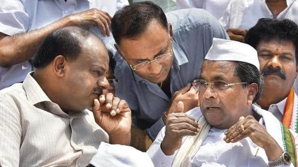 Both Karnataka chief minister H.D. Kumaraswamy (left) and Congress state chief Dinesh Gundu Rao (centre) are on vacation (Photo: HT)