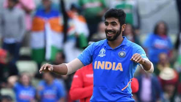 India's Jasprit Bumrah celebrates bowling Bangladesh's Mustafizur Rahman for a duck during the 2019 Cricket World Cup group stage match between Bangladesh and India at Edgbaston in Birmingham, central England, on July 2, 2019.  (Photo: AFP)