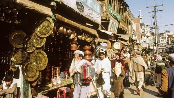 Brass and copper stores in Qissa Khwani Bazaar in Peshawar; (Alamy)