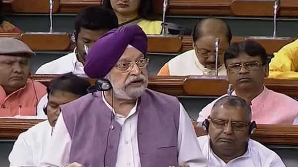 Minister of State (I/C) for Civil Aviation Hardeep Singh Puri speaks in the Lok Sabha during the Budget Session of Parliament. (PTI )