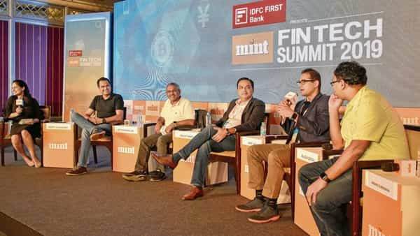 (Left to right) Deepti Chaudhary, national editor (startups), Mint; Ritesh Banglani, partner and co-founder, Stellaris Venture Partners; Sanjay Swamy, managing partner and co-founder, Prime Venture Partners; Anup Jain, managing partner, Orios Venture Partners; Rajesh Sehgal, managing partner, Equanimity Investments, and Abishek Surendran, founding partner, pi Ventures, at the Mint Fintech Summit 2019 .photographs by jithendra m./mint