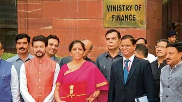 Pragmatic approach: Finance Minister Nirmala Sitharaman with finance ministry officials.